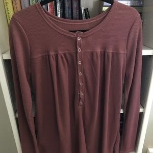 Button down mix of light pink/maroon colored top